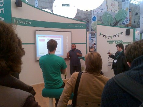 Mr Chohan at the Pearson stand